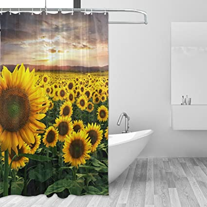 LORVIES Field Of Sunflowers Shower Curtain Set Polyester Fabric Water Repellant Bathroom Home
