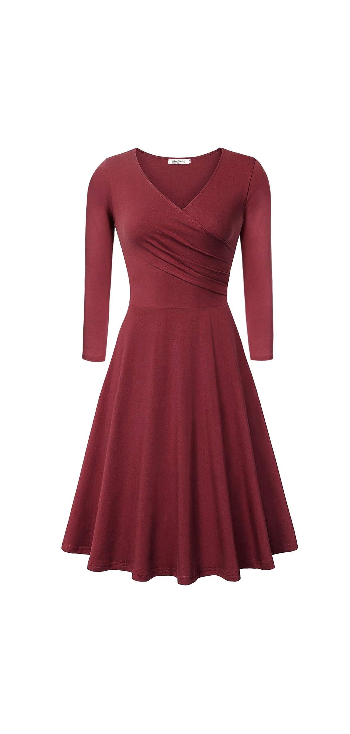 Women's Elegant V Neck Shirred Retro Vintage Prom Dress