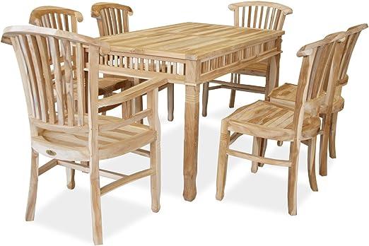 KMH 102209 Colonial - Juego de mesa y sillas de jardín (para 6 personas): Amazon.es: Jardín