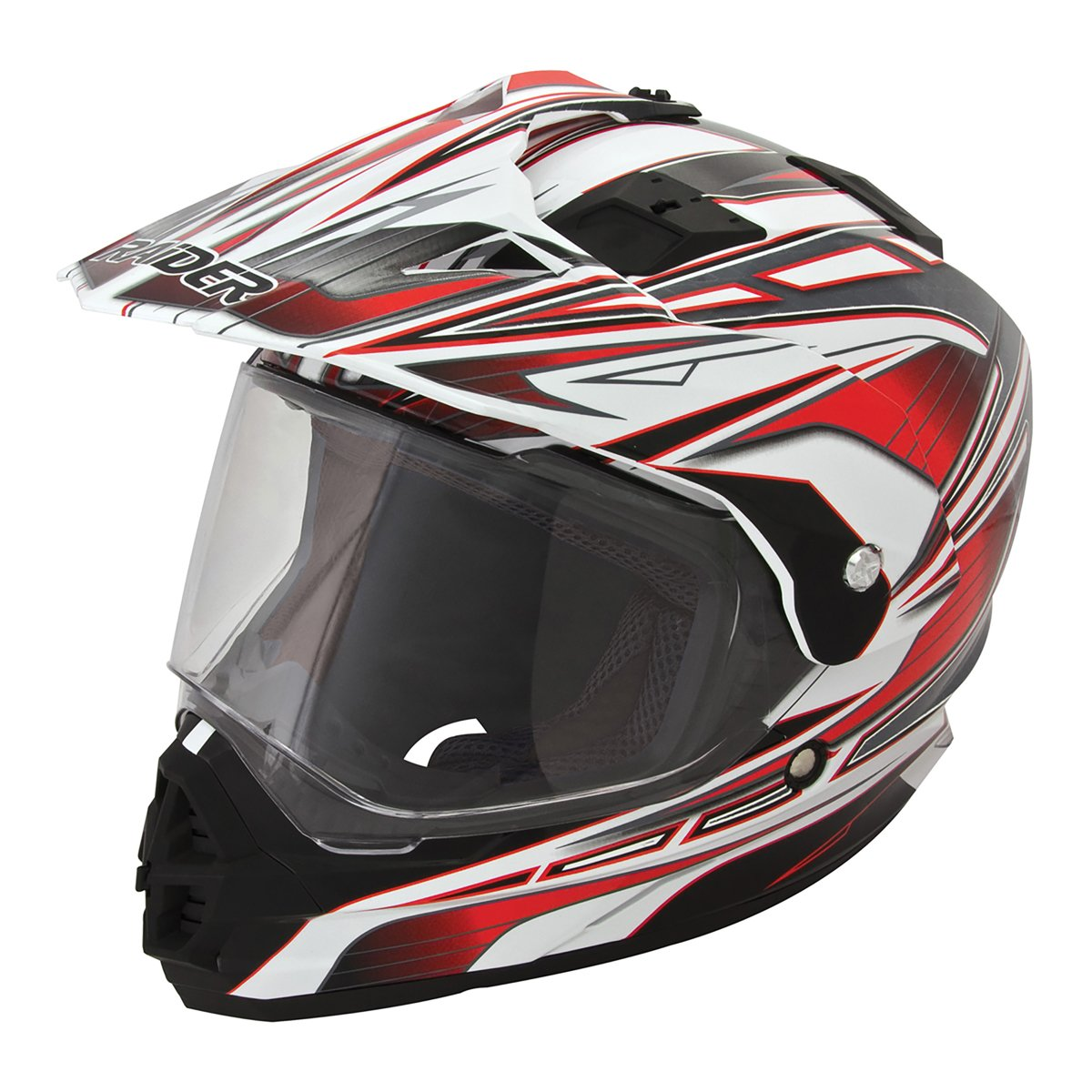 Raider Dual Sport Edge Full Face Helmet (Red, X-Large)