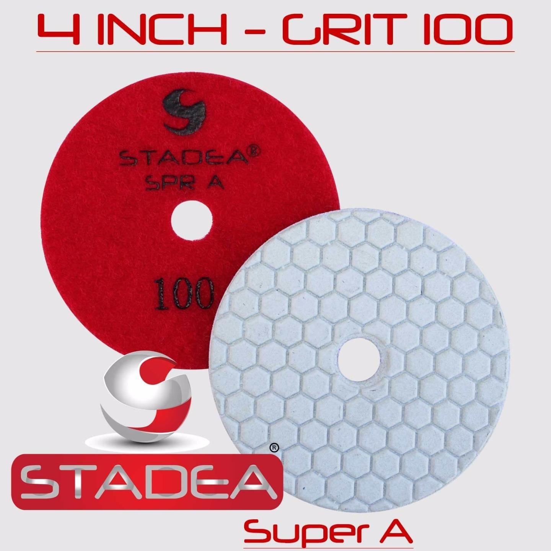 STADEA 4'' Dry Diamond Polishing Pads for granite Marble Concrete Stone Granite Tile Polishing Kit - 5 Pcs Pads, 1 Rubber Backer (5/8'' 11) Set by STADEA (Image #4)