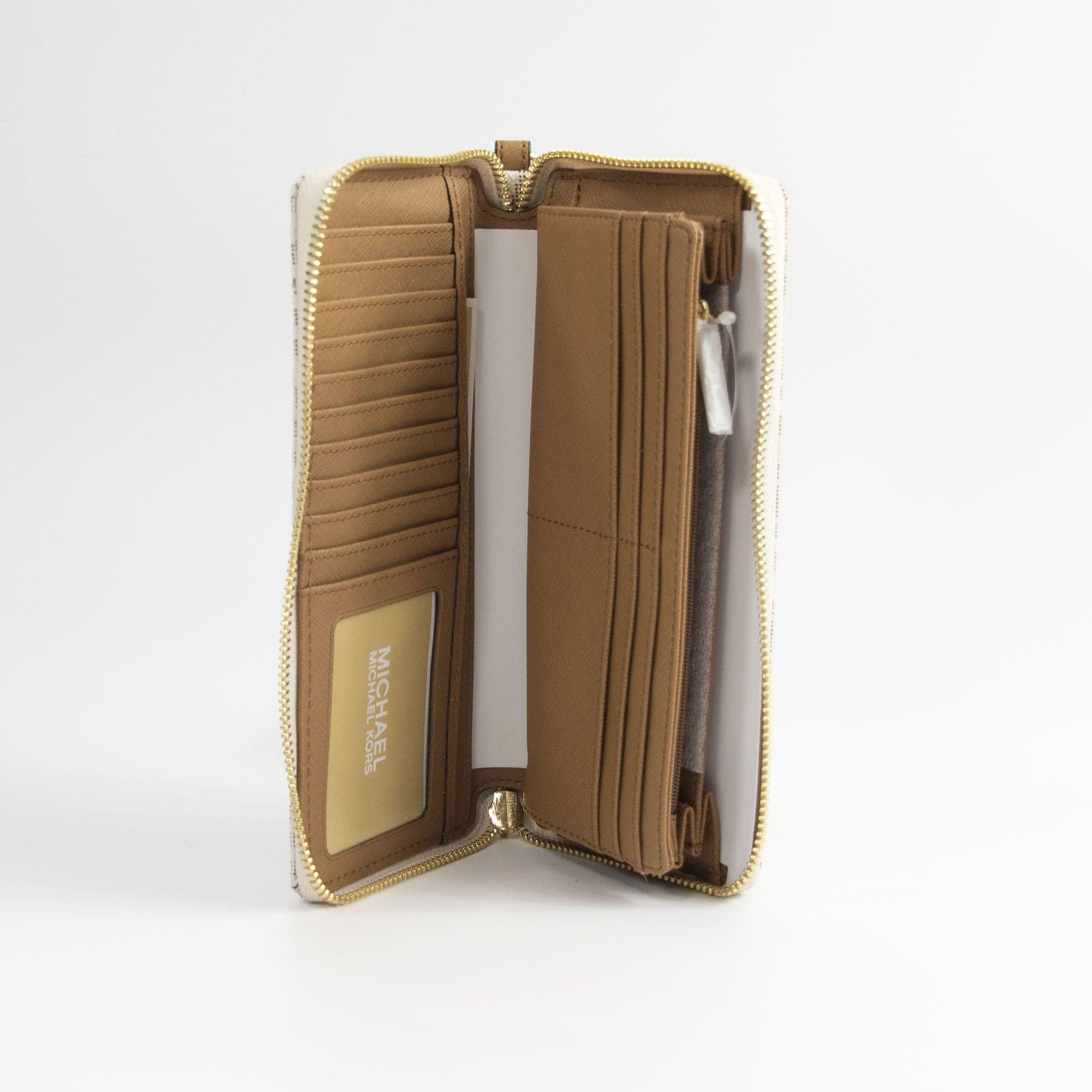 Michael Kors Vanilla Monogram Acorn Leather Large Zip Around Travel Wallet by Michael Kors (Image #5)