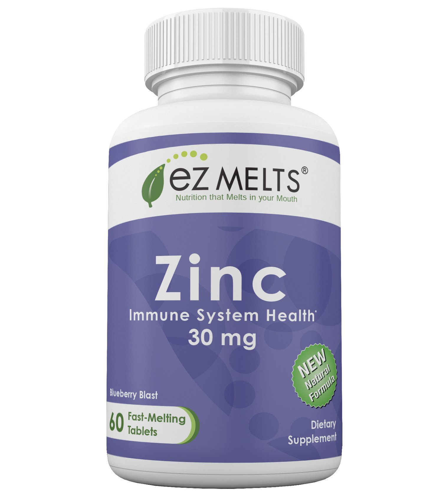 EZ Melts Zinc, 30 mg, Dissolvable Vitamins, Vegan, Zero Sugar, Natural Blueberry Flavor, 60 Fast Melting Tablets, Zinc Supplement