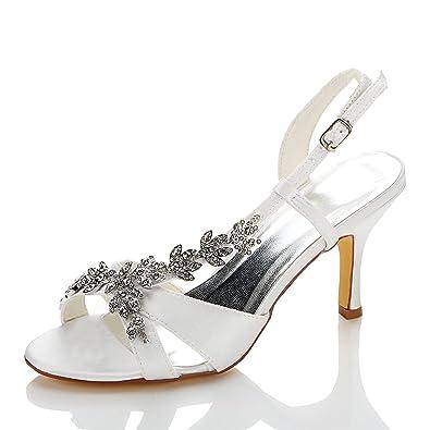 3ed5616264 JIA JIA Women's Bridal Shoes 1415A Open Toe Mid Heel Satin Sandals  Rhinestone Wedding Shoes