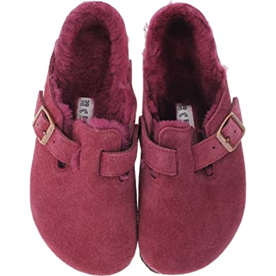 newest f9670 6aab9 BIRKENSTOCK Boston Lammfell Veloursleder Bordeaux