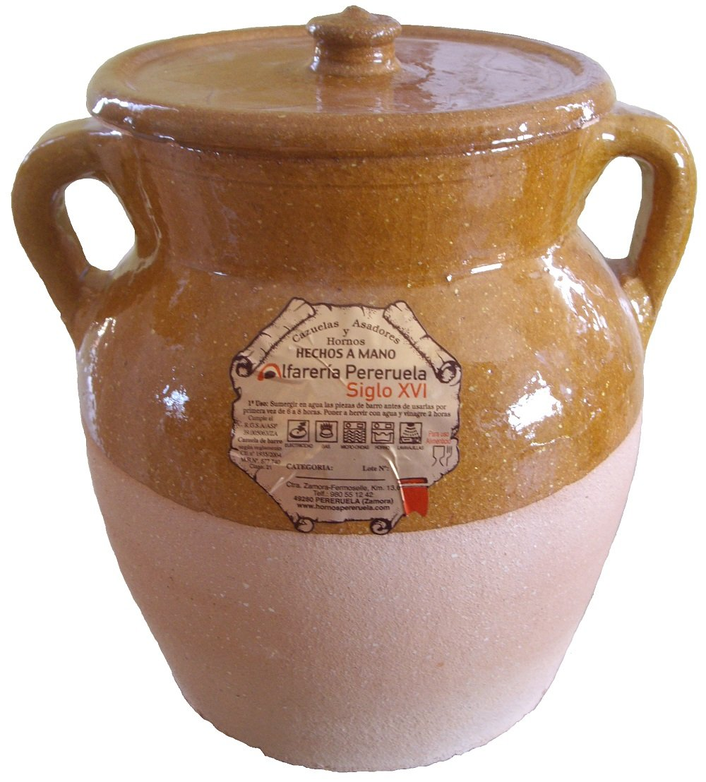 Alfarería Pereruela Siglo XVI APPUC5 - Terracotta Fireproof Cooking Pot Authentic, 5L C. B.