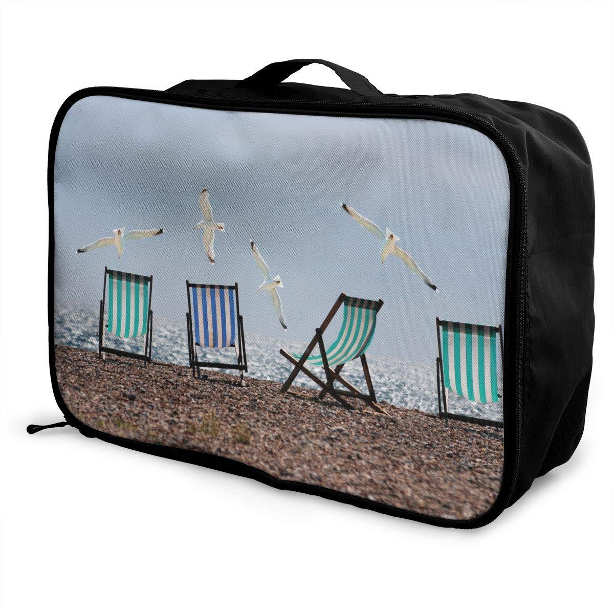 ADGAI Flying Seagull Canvas Travel Weekender Bag,Fashion Custom Lightweight Large Capacity Portable Luggage Bag,Suitcase Trolley Bag