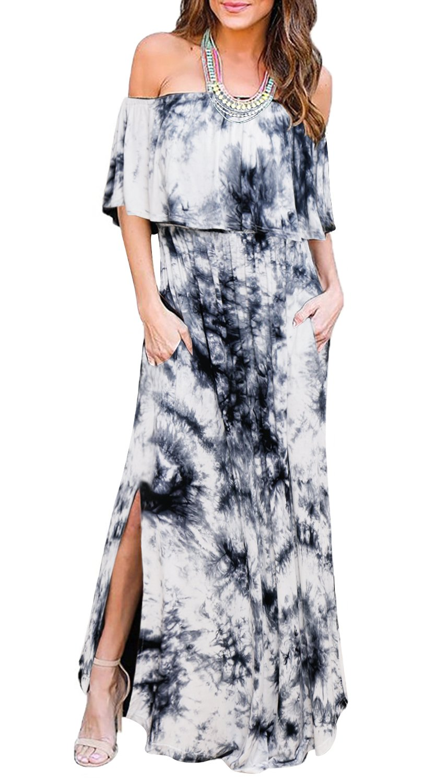Maternity Dress, Summer Off The Shoulder Ruched Long Maxi Dresses Casual Elastic Waist Elegant Photography Dress for Women Grey XXL