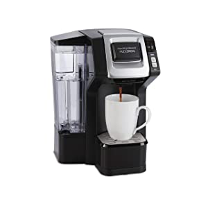 Hamilton Beach (49975) FlexBrew Single Serve Coffee Maker with 40 oz. Reservoir, Compatible with K-Cup Packs or Ground Coffee, Programmable, Black