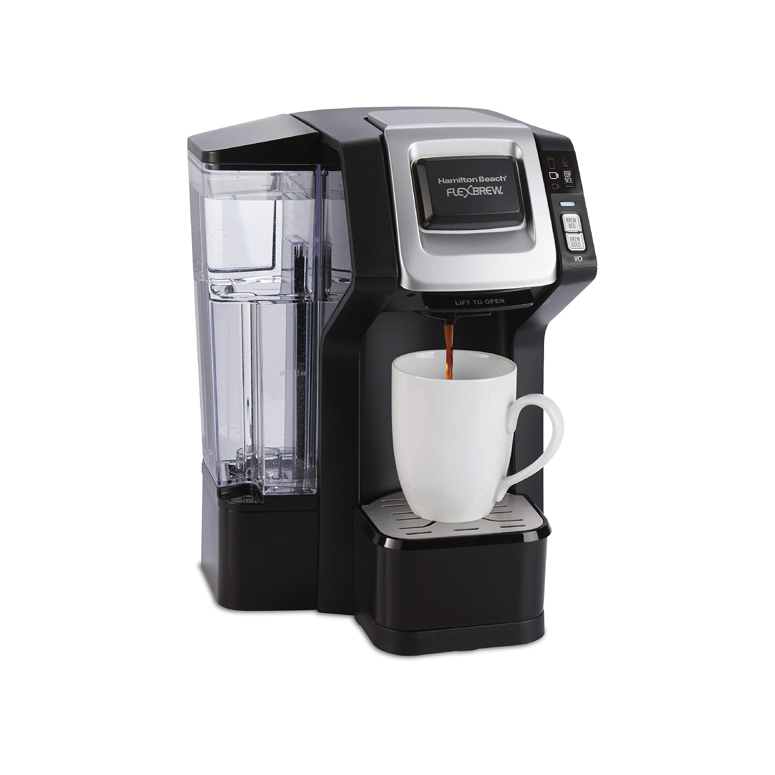 Hamilton Beach 49975 FlexBrew Single Serve Maker with with 40 oz. Reservoir, Compatible with K-Cup Packs or Ground Coffee, 3 Brewing Sizes, Black