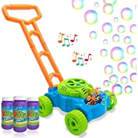 Mumfactory Bubble Mower for Toddlers, Kids Bubble Blower Machine Lawn Games, Outdoor Push Toys, Birthday Gifts for…