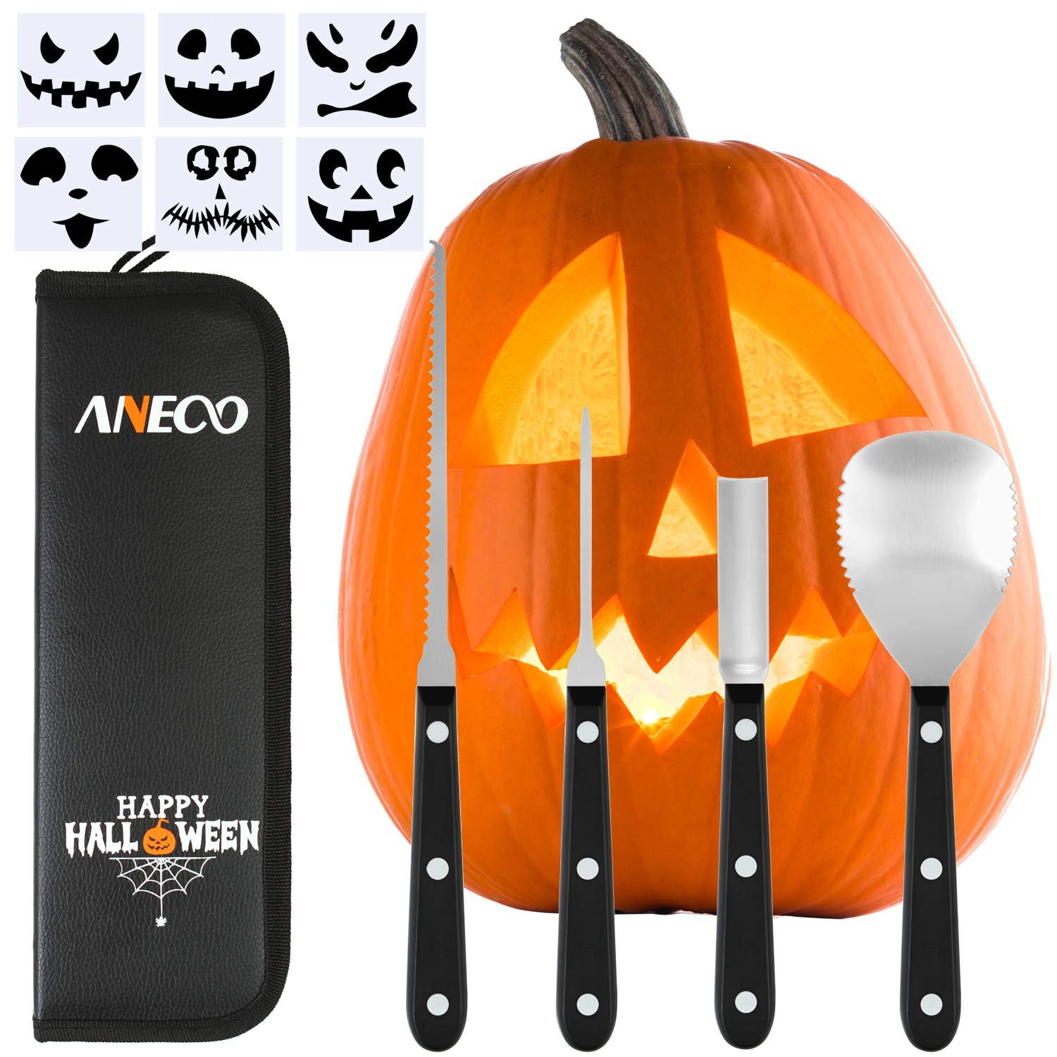 Aneco Professional Halloween Pumpkin Carving Tool Kit Stainless Steel Pumpkin Carving Tool for Halloween Jack-O-Lanterns with 6 Pumpkin Carved Stickers and Storage Bag by Aneco