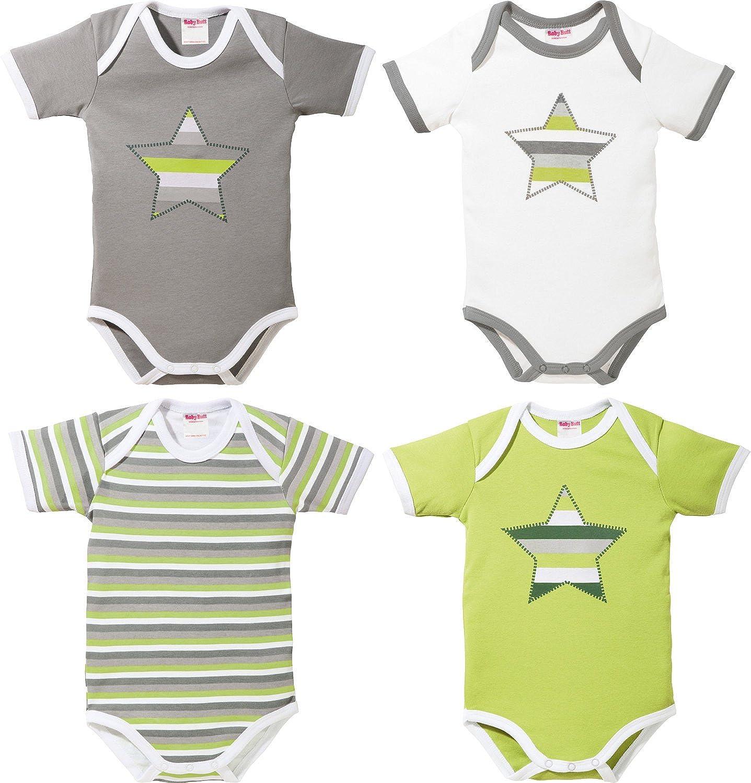 Erwin M/üller Baby-Body 4er-Pack mit Druckmotiv Interlock-Jersey