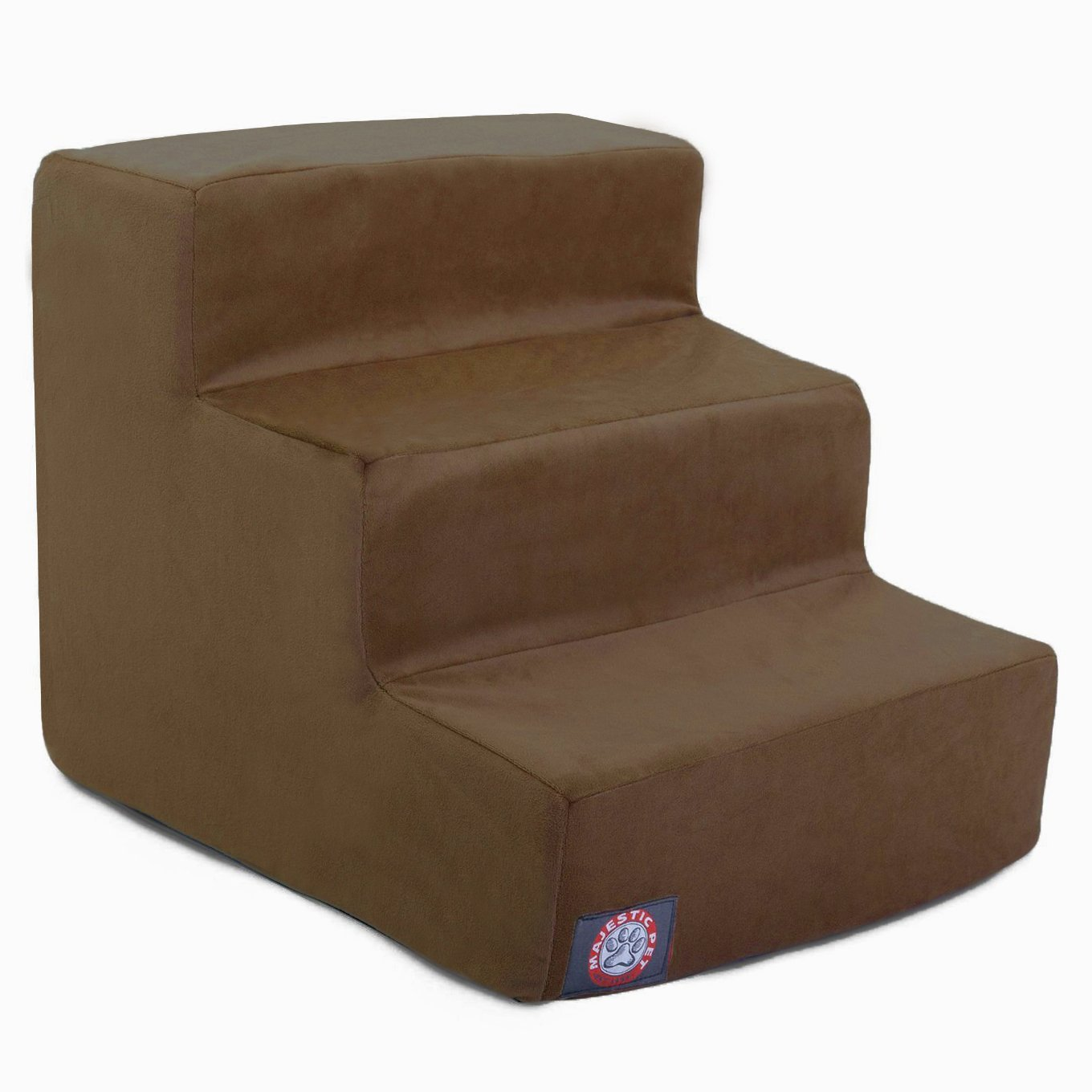 3 Step Chocolate Brown Suede Pet Stairs By Majestic Pet Products