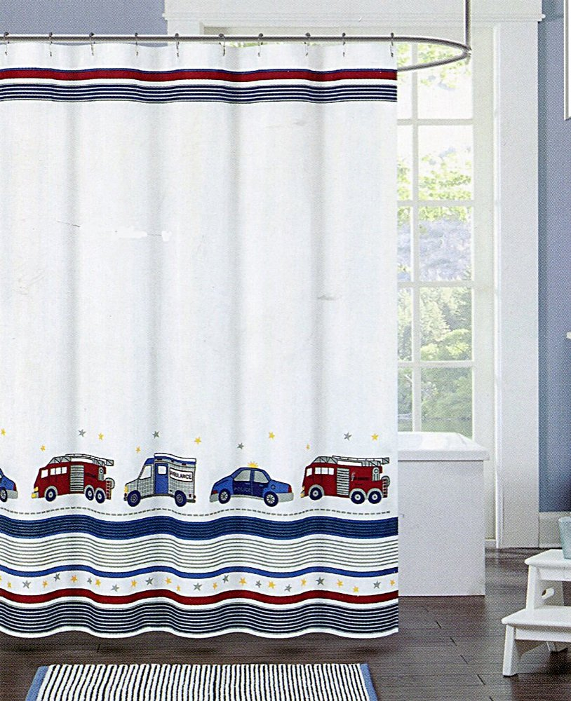 Authentic Kids Emergency Vehicle Shower Curtain