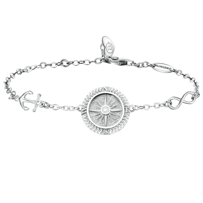 AmorAime Family Tree of Life 925 Sterling Silver Disc Bracelet White Gold Plated Adjustable ppvDmLOa