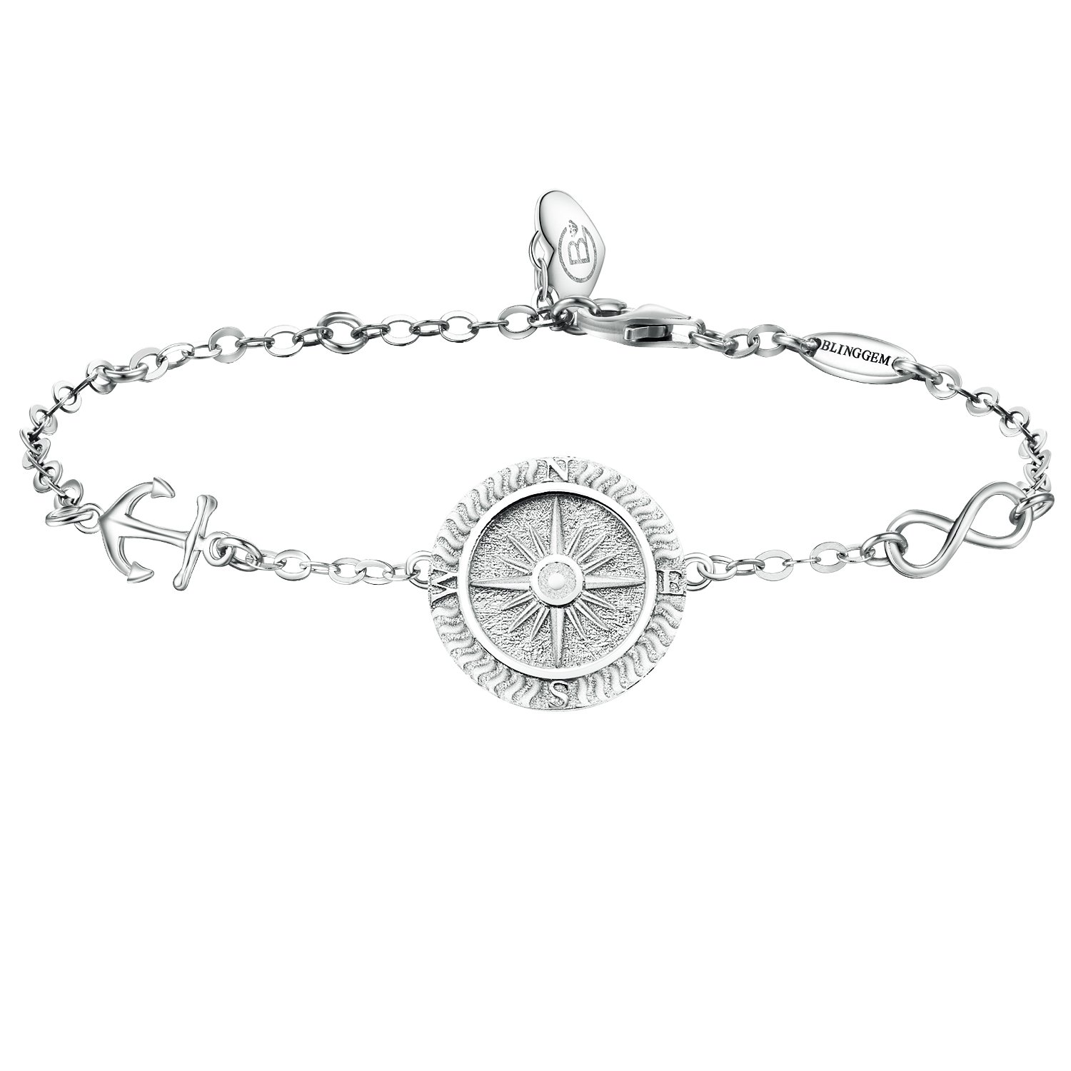 BlingGem Compass Bracelet No Matter Where 925 Sterling Silver Bracelet for Women Direction Engraved- Graduation Gift for Women