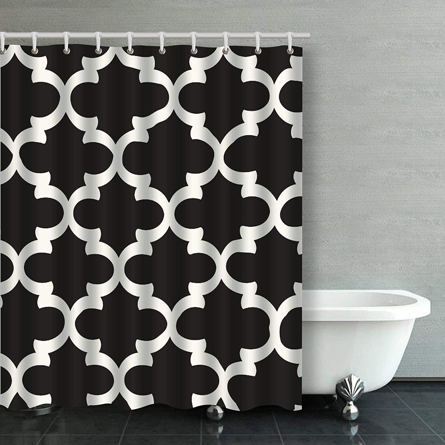 Patwee Cool Black and White Strip Design Shower Curtain Waterproof Fabric for Bathroom Decoration 66x72Inches