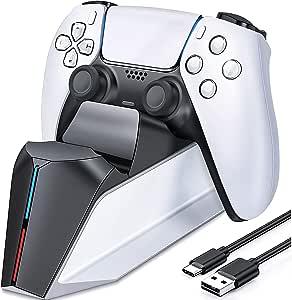 Carregador do controlador PS5, estação de carregamento PS5 para controlador dualsense Playstation 5, atualização TwiHill estação de carregamento do controlador PS5 para estação de carregamento do controlador PS5 com indicador