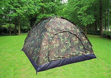 Outdoor Camouflage UV Protection Dome Waterproof Camping Tent f// 4 Person