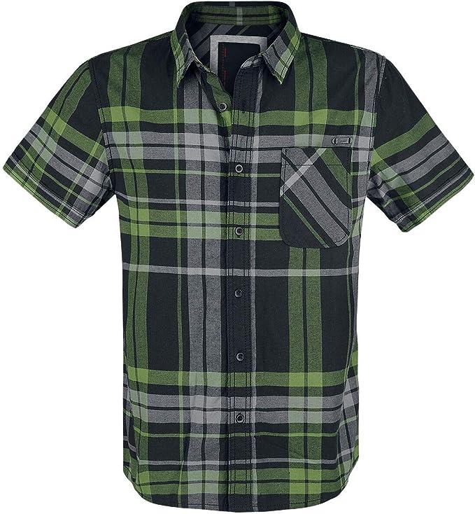 Brandit Mike Checkshirt Hombre Camisa Manga Corta Negro/Gris/Verde M, 100% algodón, Regular: Amazon.es: Ropa y accesorios