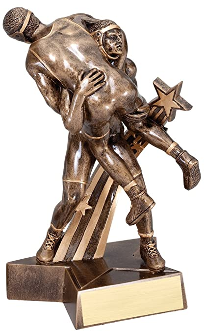 amazon com decade awards wrestling gold star resin trophy male