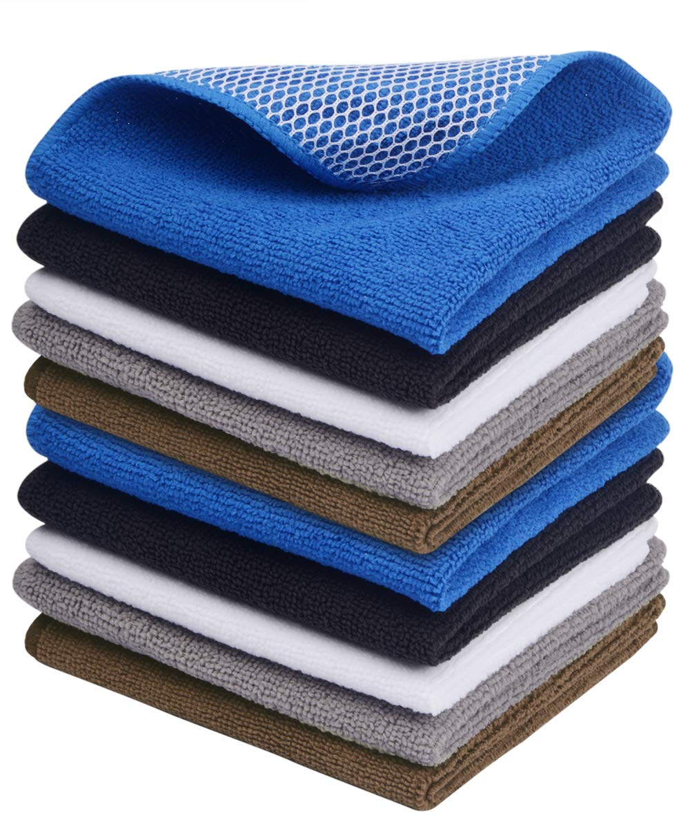 Sinland Microfiber Dish Cloth Best Kitchen Cloths Cleaning Cloths with Poly Scour Side 12Inch x 12Inch 20 Pack (Assorted Dark colors-10PCS, 12Inch x 12Inch)