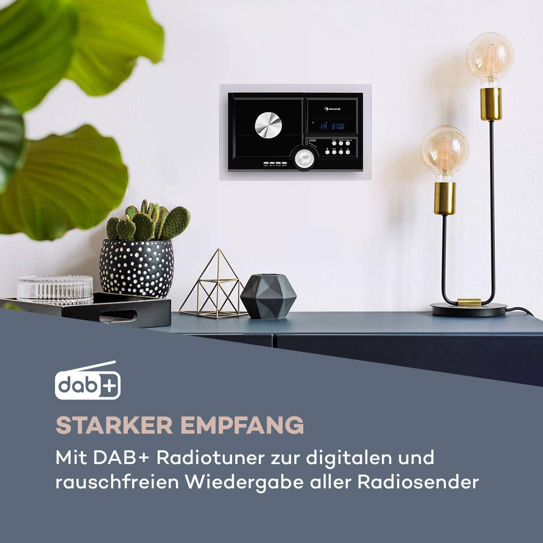 automatischer CD-Player Wandmontage Bluetooth-Funktion schwarz USB-Port f/ür MP3-Dateien DAB+//UKW-Radiotuner LCD-Display auna Stereo Sonic DAB+ Stereoanlage AUX-Eingang Schlaf-Funktion