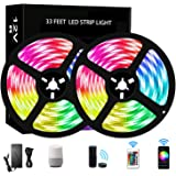 RUISHINE 33FT LED Strip Lights WiFi, Wireless Smart Phone Controlled RGB Rope Lights Sync to Music with 24 Key Remote…