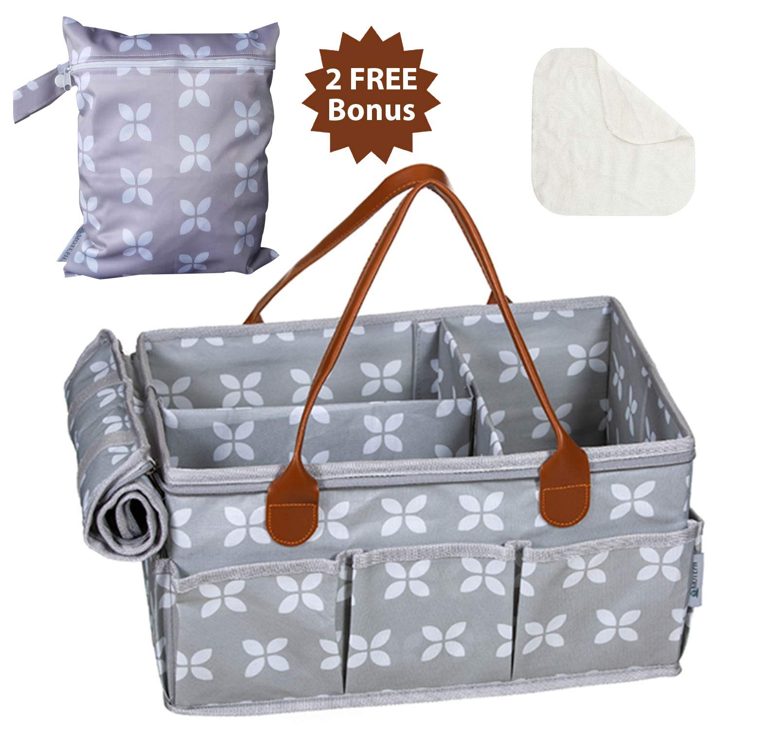 Moteph Extra Large Diaper Caddy Organizer with Zip-Top Cover with 2 Extra Items - Waterproof Wet/Dry Bag - Velour Baby Wipe Cloth - Perfect for Baby Shower by Moteph