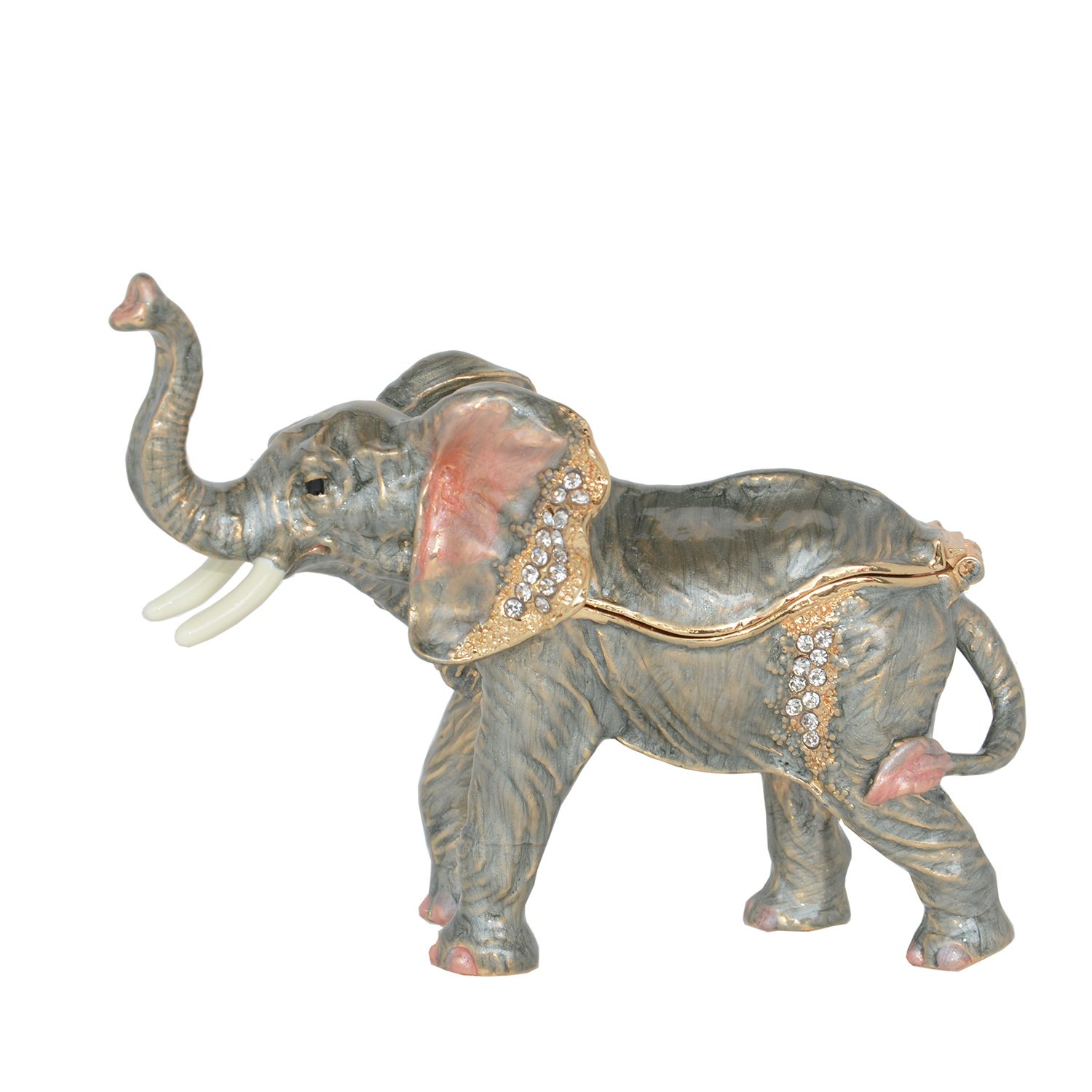 Minihouse Elephant Treasured Trinket Jewelry Ring Box Necklace Container Crystal Jeweled Collectible Gifts for Lovers (Grey) by Minihouse (Image #3)
