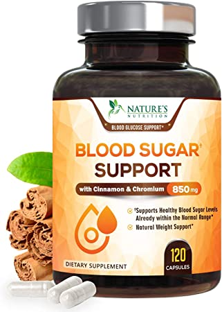 Blood Sugar Support Extra Strength Glucose Metabolism Support Supplement with Cinnamon, Alpha Lipoic Acid and Chromium - 20 Herbs & Vitamin Blend - Made in USA - Best Vegan Complex - 120 Capsules