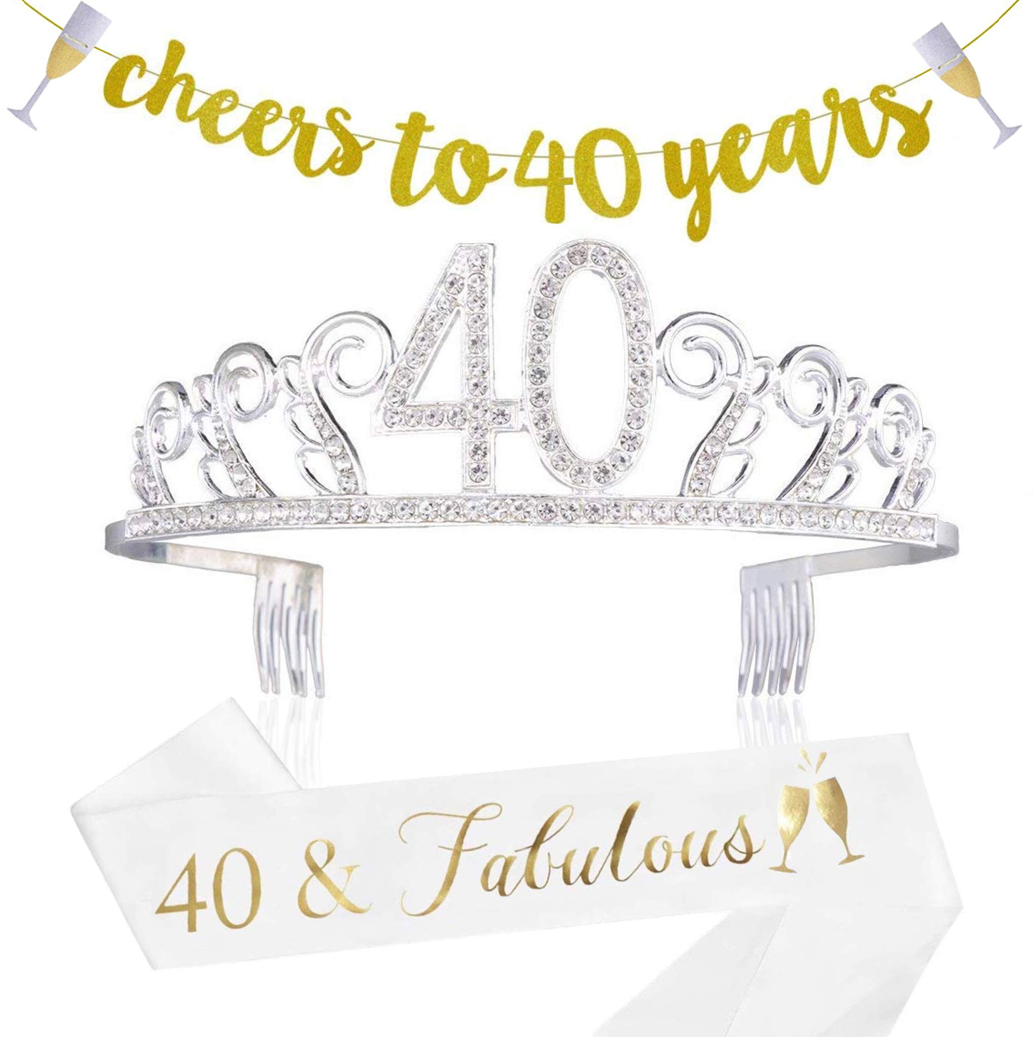 40th Birthday Decorations Party Supplies - 40th Birthday Gifts for Women,40 Birthday sash | Banner | Crown | Cake Topper. (40) by Sllyo