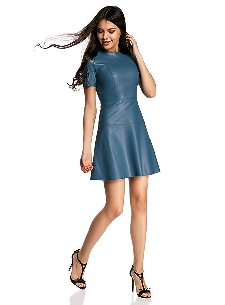 oodji Ultra Mujer Vestido de Piel Sintética con Falda Acampanada: Amazon.es: Ropa y accesorios