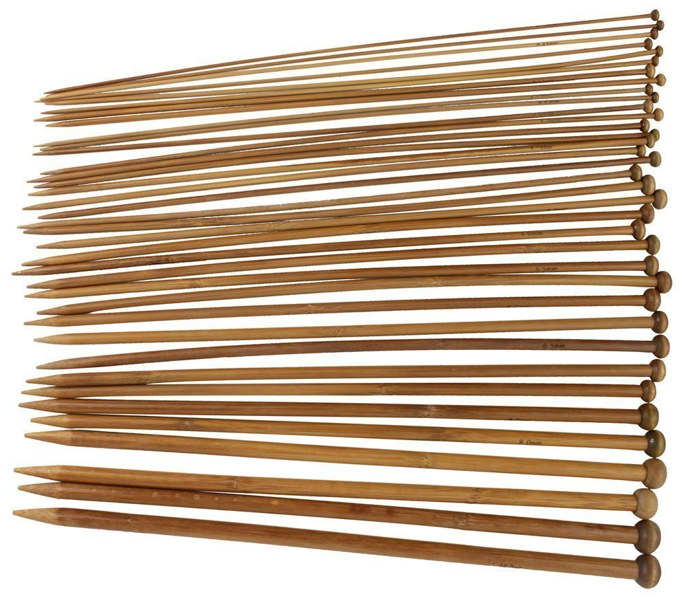 18 Sizes Carbonized Bamboo Single Pointed Needles Knitting Needles Generic AEQW-WER-AW148875