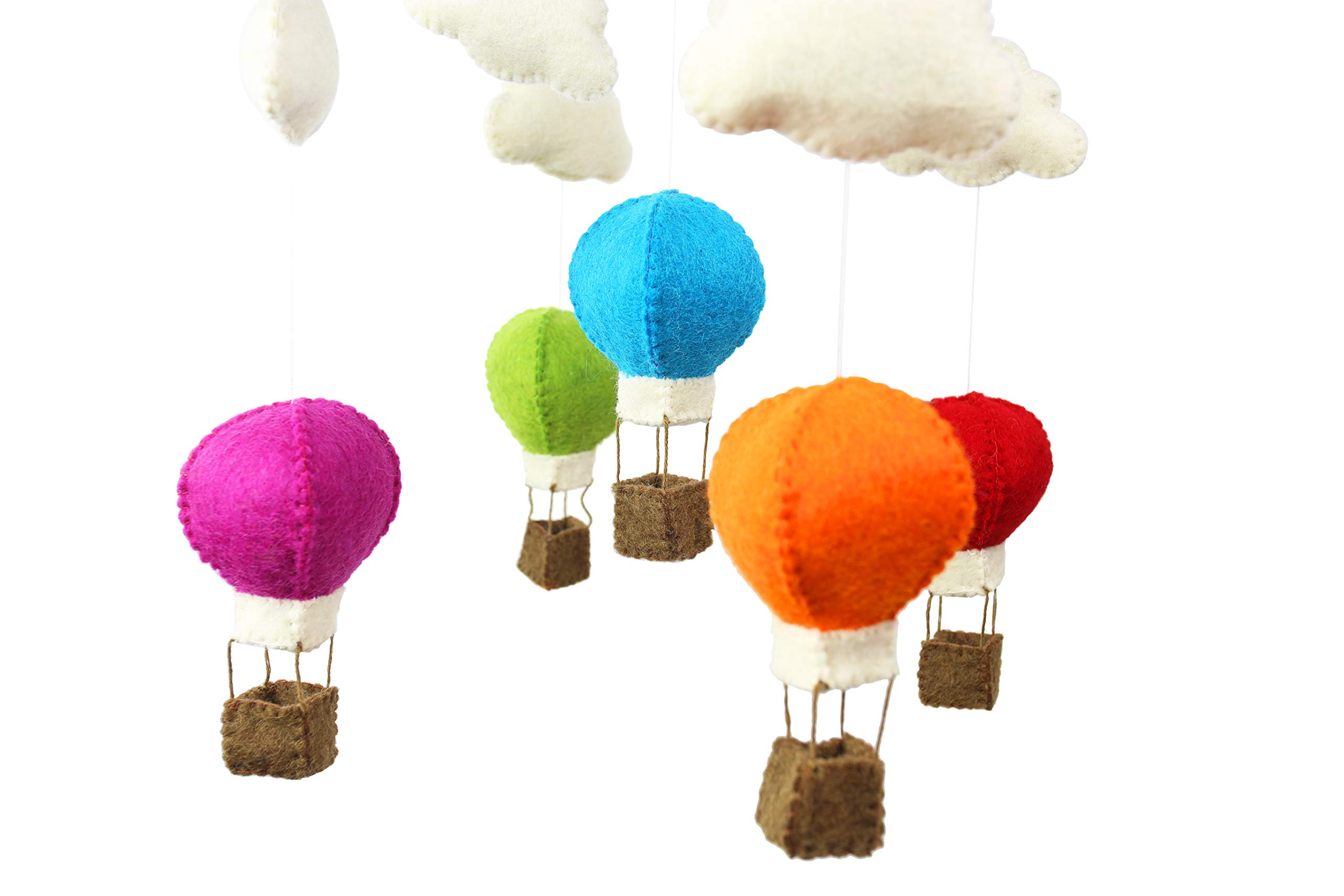 PopLife Hot Air Balloon Baby Crib Mobile – 100% New Zealand Organic Wool, Handmade Nursery Decoration