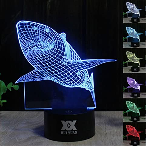 Huiyuan 3d Night Lamp Colorful Shark Shape Touch Control Light 7 ...