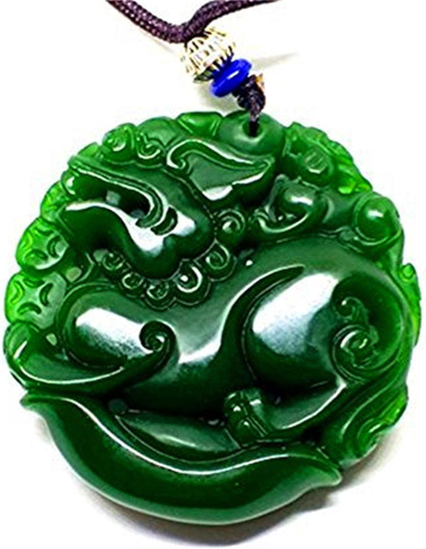 Natural verde doble cara Sculptur Jasper Jade colgante dragón collar