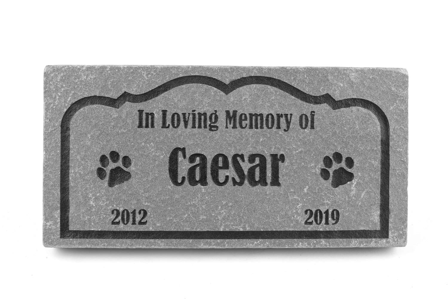 GraphicRocks Sandblast Engraved Grey Pet Memorial Stone Headstone Grave Marker for Pet Loss Dog Cat 6 inch x 12 inch Personalized with Pet Name and Years by GraphicRocks