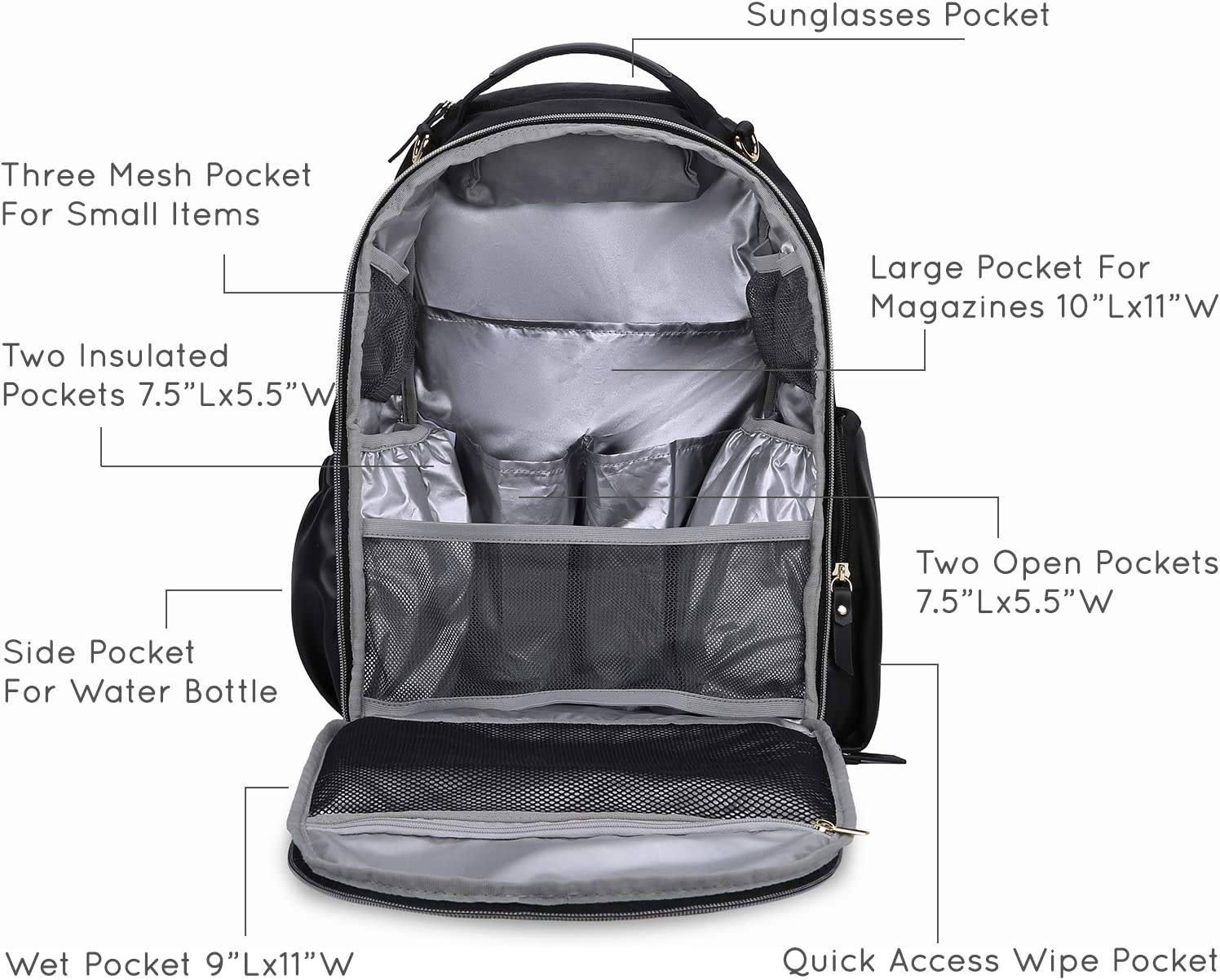 mommore Wash Free Changing Bag Backpack Waterproof Large Fashion Baby Changing Backpack for Mom with Changing Mat and Pram Clips