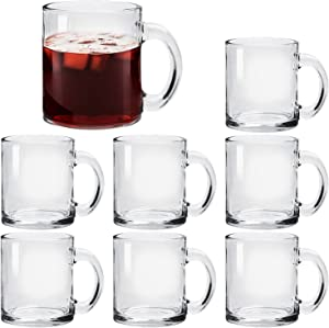 Glass Coffee Mug Set, (8 Pack) 11 Ounce with Convenient Handle, Tea Glasses for Hot/Cold Beverages, Thermal Shock Resistant, Tempered Glass, Mugs for Cappuccino, Latte, Espresso