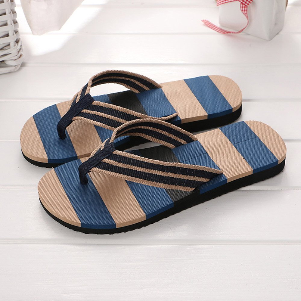 Corriee Mens Fashion Striped Printed Indoor Outdoor Flip Flops Breathable Anti-Slip Shoes Male Summer Slippers Blue by Corriee (Image #4)