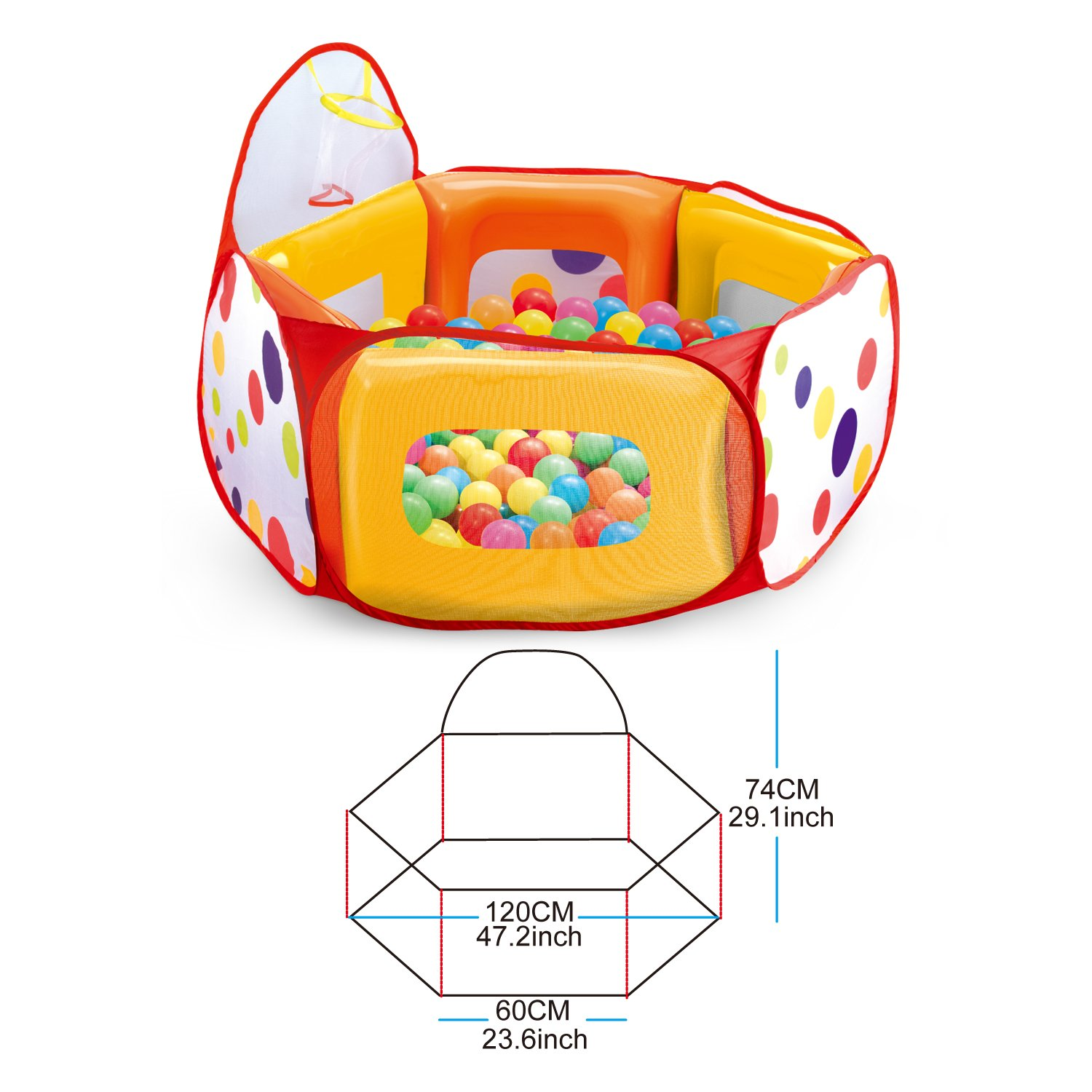 Indoor /& Outdoor Jumping Fun Playhouse Set Super Safe for Kids and Toddlers prextex Kids Ball Pit Play Tent with 100 Colorful Crush-Free Pit Balls
