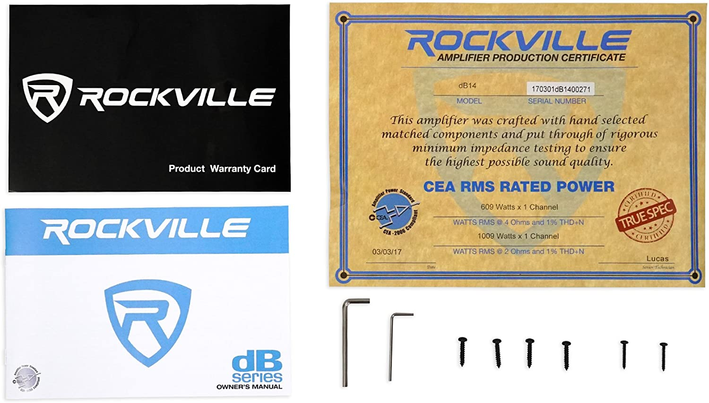 Rockville dB10 800w Peak Mono Car Audio Amplifier 200w RMS @ 4 Ohms CEA Rated