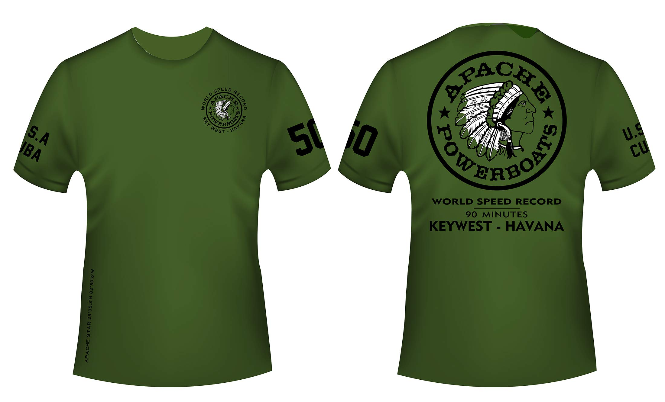 Apache Powerboats Official World Record T-Shirt (XX-Large, Military Green Cotton) by Apache Powerboats