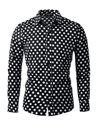Men Shirt White Polka Dot Dress