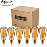 Vintage Light Bulbs, Elfeland 40w Dimmable Squirrel Cage Filament Edison Bulbs ST58 Antique Teardrop Design Retro Pendant Lights for Restaurant Home Office E26/E27 110-130V (6 Pack)