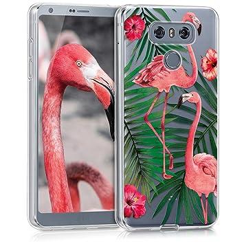kwmobile Funda para LG G6 - Carcasa de [TPU] para móvil y diseño de flamencos y Palmeras en [Rosa Claro/Verde/Transparente]