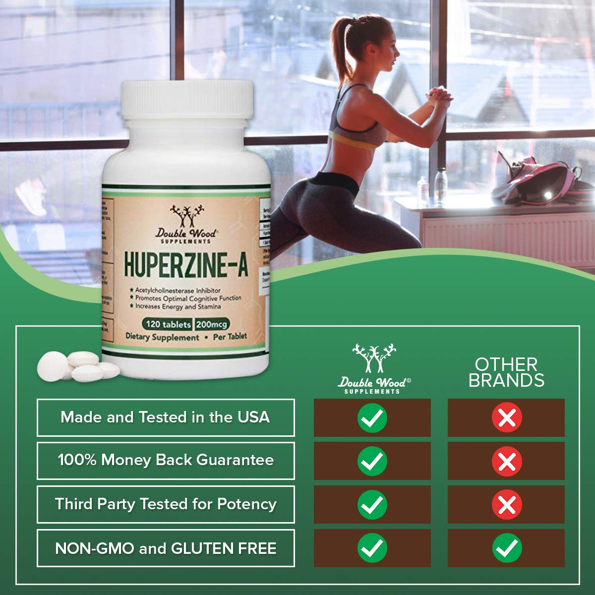 Huperzine A 200mcg (Third Party Tested) Made in The USA, 120 Tablets, Nootropics Brain Supplement to Boost Acetylcholine, Improve Memory and Focus by Double Wood Supplements by Double Wood Supplements (Image #6)