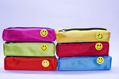 Shopkooky Bright Colour Smiley Pen Pencil Pouch Case For Gifting Purpose Return Gifts Kids Birthday